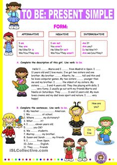 Verb to be: Simple Present. - English ESL Worksheets for distance learning and physical classrooms English Grammar Worksheets, English Verbs, Kids English, English Resources, English Activities, English Lessons, Learn English, English Language, Spanish English