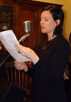 Jessica Bell (author of White Lady) reading from Liza Perrat's Blood Rose Angel Book Launch, Two Men, November 2015, Blood, Product Launch, Author, Angel, Reading, Rose