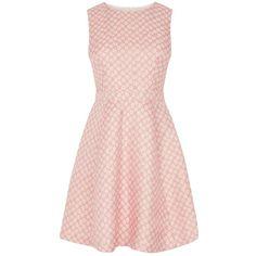 Oasis Daisy Jacquard Skater Dress, Multi Pink ($79) ❤ liked on Polyvore featuring dresses, mini dress, flower print dress, skater dress, floral dress and pink shift dress