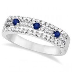 Blue Sapphire & Diamond Ring 14k White Gold (0.45ctw)-Allurez.com