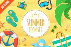 Summer icons set by Chuhastock on Creative Market