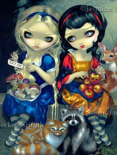 Alice and Snow White! Canvases made from my original acrylic painting available at Pop Gallery Orlando at Downtown Disney strangeling,Jasmine Becket Griffith Gothic Fantasy Art, Fantasy Kunst, Gothic Fairy, Art Disney, Disney Kunst, Downtown Disney, Jasmine Becket Griffith, Snow White Fairytale, Chesire Cat