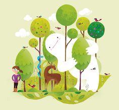 A monster in the forest by Christian Lindemann, via Behance Monster Illustration, Children's Book Illustration, Digital Illustration, Posca Marker, Dragons, Cute Monsters, Cute Art, Vector Art, Concept Art