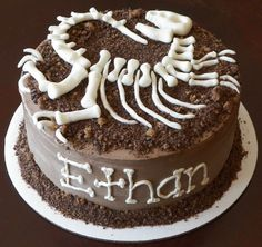 T-Rex skeleton (cooled white chocolate) on dirt and other cake ideas.