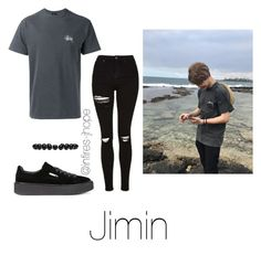 """Beach with Jimin"" by infires-jhope on Polyvore featuring Puma, Stussy, Topshop and Gucci"