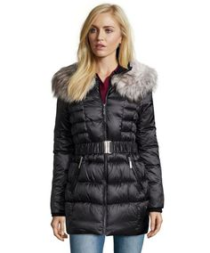Betsey Johnson Black Box Quilted Coat Women's XS-S-M-L Optional Faux Fur Trimmed…