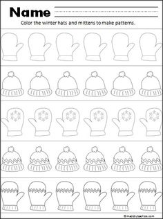 """This is a free hat and mitten pattern worksheet for your Kindergarten and 1st grade students. Have your students practice fine motor coloring skills while creating patterns. In common core standards, patterns help students """"Look for and make use of structure"""" (Mathmatical Practice)."""