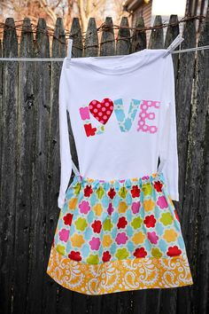 Valentines Day Outfit - Girls Twirl Skirt and Matching Appliqued  Love Shirt