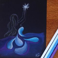 Iemanjá, rainha do mar  #iemanja #rainhadomar #sketchbook #art_spotlight #arts_help #sharemyarts #drawing  #sea #star #blue #sketch