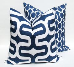 Navy Blue Pillow 20x20 Pillow Cover Set of TWO Decorative Throw Pillows Navy Blue Pillow cover Printed fabric both sides Dark Blue Pilow