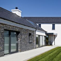 Bespoke Homes — Paul McAlister Sustainable and Passive House Architects - Portadown, Belfast, Northern Ireland Stone Cladding Exterior, Stone Exterior Houses, House Designs Ireland, Passive House Design, Self Build Houses, Georgian Architecture, Farmhouse Renovation, Ireland Homes, Modern Bungalow