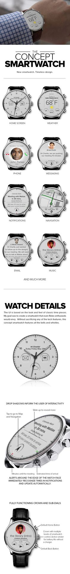 CONCEPT SMARTWATCH by Charlie No, via Behance [Wearable Electronics: http://futuristicnews.com/tag/wearable/ Smart Watches & Wearable Electronics for SALE: http://futuristicshop.com/category/smart-watches-wearable-electronics/]