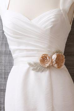 Blush pink bridal sash, peach silk wedding belt, luxury handmade wedding dress accessory. $245.00, via Etsy.