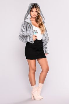 Available In Grey Faux Fur Hoodie Jacket 100% Polyester