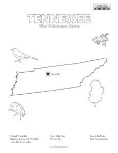 Tennessee coloring page and state facts