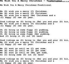 Song We Wish You A Merry Christmas By Traditional With Lyrics For Vocal Performance And