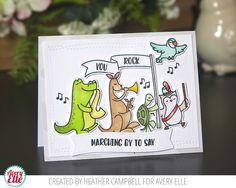 Heather Campbell for Avery Elle Supplies: Band Camp Clear Stamps & Dies Pierced Banner Layers Dies Wonky Stitches Dies