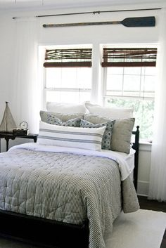 Lettered Cottage Guest room traditional bedroom, tufted ticking comforter, lake house