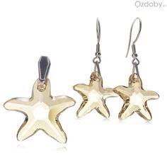 Biały komplet Swarowskiego: naszyjnik + kolczyki, w kształcie gwiazdeczek