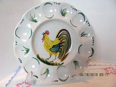Deviled Egg Plate with Hand Painted Rooster by VintageLoversShop, $10.00