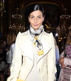 Giovanna Battaglia  So Euro, but in the best way possible:  She wraps once around the neck and lets the ends fall uneven, for a perfectly undone effect.  You can use a classic square or a more rectangular one for this.