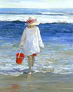 Morning Surf by Sally Swatland - 30 x 24 inches Signed impressionist beach scenes children playing contemporary american chase pothast