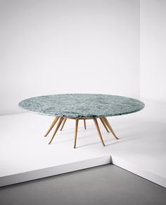 Guglielmo Ulrich; Cherry and Verde Alpi Marble Low Table, 1935-1940.