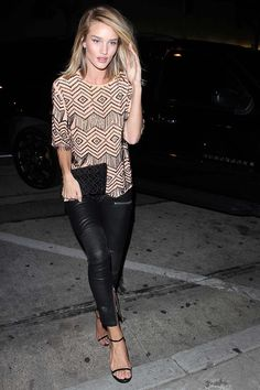 Rosie Huntington-Whiteley leather trousers, ethnic print