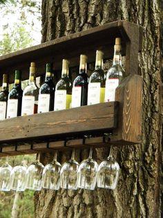 Wine Rack, Reclaimed Pallet Wood, Pallet Wine Rack, Wedding Gift, Repurposed Pallet, Pallet Wood Furniture, House Warming Gift, Wall Hanging on Etsy, $105.00