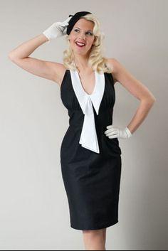 120e85621e0 Pin up Wiggle Dress Rockabilly Pinup Retro Mini Dress with Chelsea Collar  Custom Size Plus Size Black White Cotton Dress Nautical Sailor