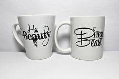 Mug couple set , set of 2 mugs set - Her Beast and Hs Beauty the perfect couple gift wedding gift, housewarming Gift