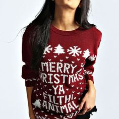 Womens Ugly Christmas Sweater Merry Christmas Ya Filthy Animal Plus Size