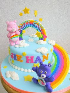 Design + more original looking care bear Care Bear Birthday, Care Bear Party, 4th Birthday Cakes, Rainbow Birthday, First Birthday Parties, First Birthdays, Birthday Ideas, Care Bear Cakes, Flamingo Cake