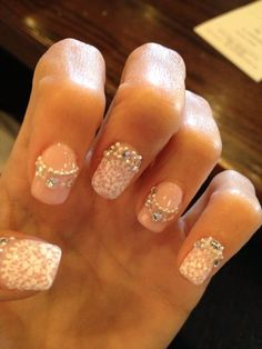 My Lace, Bling, and Pearl Wedding Nails!! :  wedding bling ivory japanese nail art lace nail art nails pink silver N3