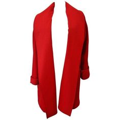 Preowned Unique Gianni Versace Red Wool Coat 1990's (99,845 MXN) ❤ liked on Polyvore featuring outerwear, coats, jackets, red, slim fit coat, versace, knee length wool coat, red wool coat and leather-sleeve coats