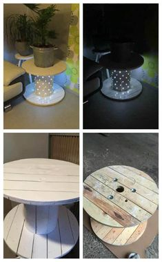 Table Basse Touret / Reel Coffee Table How to transform a reel into a coffee table. Comment transformer un touret en table basse! Diy Cable Spool Table, Cable Drum Table, Wood Spool Tables, Wooden Cable Spools, Cable Spool Ideas, Wooden Cable Reel, Wire Spool, Table Tambour, Electrical Spools