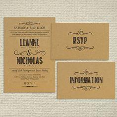 DIY Kraft Paper Wedding Invitation by AmyAdamsPrintables