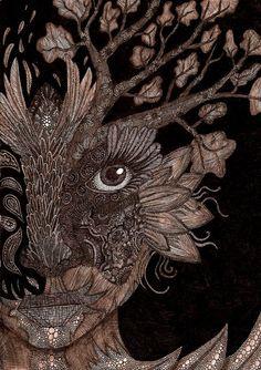 Druids Trees:  An antlered tree spirit. MIXED MEDIA