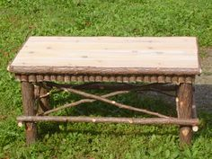 Handcrafted 34 Inch Maine Made Rustic Cedar Coffee Table Log Home Furniture