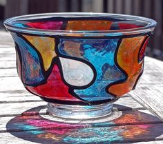 Art: As Deep As The Ocean (Stained Glass Painted Pedestal FingerBowl) by Artist Diane G. Casey