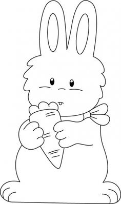 Rabbit enjoying carrot coloring pages