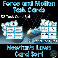 Newton's Laws: Newton's Laws Cart Sort and Force and Motion Task Cards. This set contains our 52 card Force and Motion Task Card Set AND our 36 card Newton's Laws of Motion Card Sort Activity for a total of 88 cards! These two sets virtually cover Sorting Activities, Montessori Activities, Educational Activities, School Site, School Stuff, Newtons Laws, Student Information, Force And Motion, Physical Science