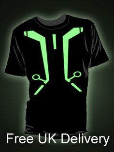 New Tron design glow t-shirt from Block The Darkest, Glow, Mens Tops, T Shirt, Design, Supreme T Shirt, Tee, T Shirts, Sparkle