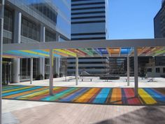 Canopy by Liam Gillick in downtown Clayton, MO.       -------      (photo from Saint Louis Front Page... http://www.slfp.com)