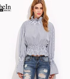 a508c96d1fe SheIn Spring Fashion Shirts Womens Tops High Neck Blue And White Vertical  Striped Flare Sleeve Smocked