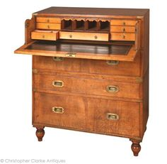 Antique Military Chest with Secretaire  Christopher Clarke Antiques    (ref. Quin)