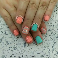 Coral and mint nails. Chevron nails