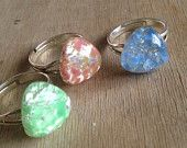 galaxy triangle ring - blue pink or green
