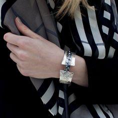 Sterling Silver with Oxidised Silver Stylish Wide Bangle Design Greece | Handmade Jewellery by Tina Kotsoni | Lily Luna | Edinburgh | Scotland