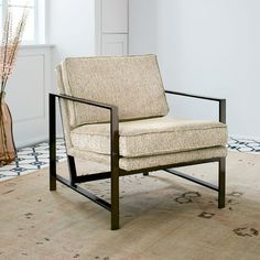Metal Frame Upholstered Chair. In Indigo Twill.